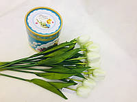 Цветок искусственный, Тюльпан белый, H 54см, Искусственные цветы, Днепр