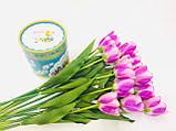 Штучний квітка Тюльпан рожево-бузковий, H 60см, Штучні квіти, Дніпро, фото 2