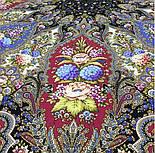 Миндаль 1369-20, павлопосадский платок (шаль) из уплотненной шерсти с шелковой вязанной бахромой, фото 5
