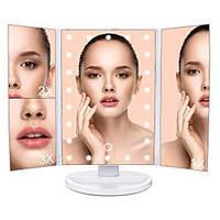 Настольное косметическое зеркало для макияжа Superstar Magnifying Mirror с LED подсветкой Белое