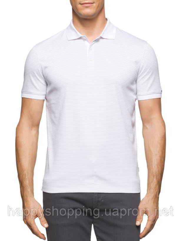 Мужская светлая хлопковая футболка-поло в полоску Calvin Klein