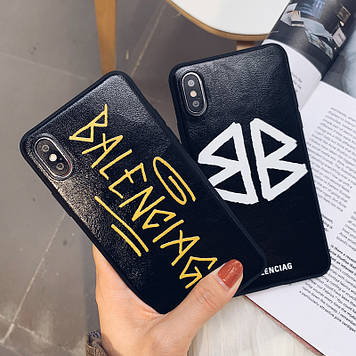 """Iphone 6 / 6s / 6plus оригинальный кожаный чехол панель бампер накладка лого НАТУРАЛЬНАЯ КОЖА """" Balenciaga """""""