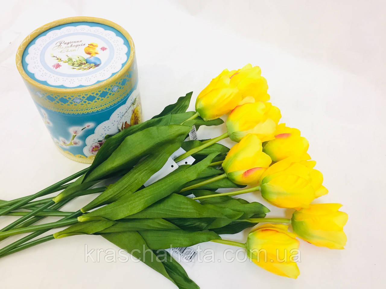 Цветок искусственный, Тюльпан желтый, H 60см, Искусственные цветы, Днепр