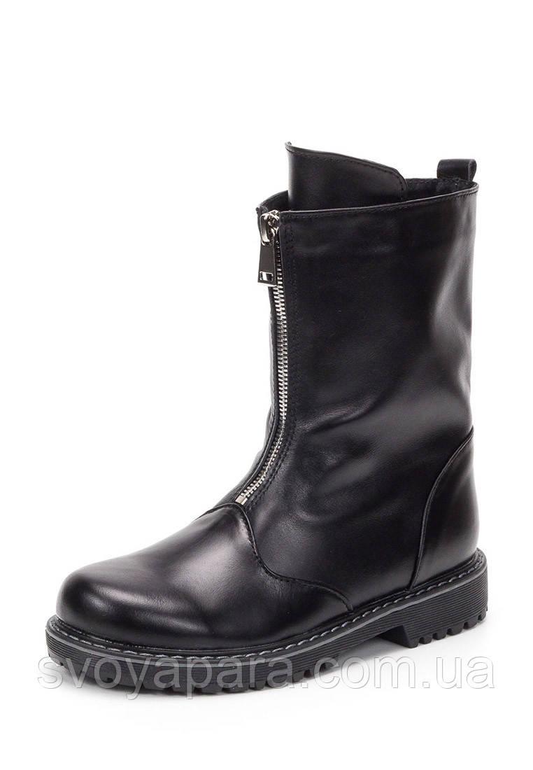 Сапоги весенне осенние для девочек черные кожаные (10102)