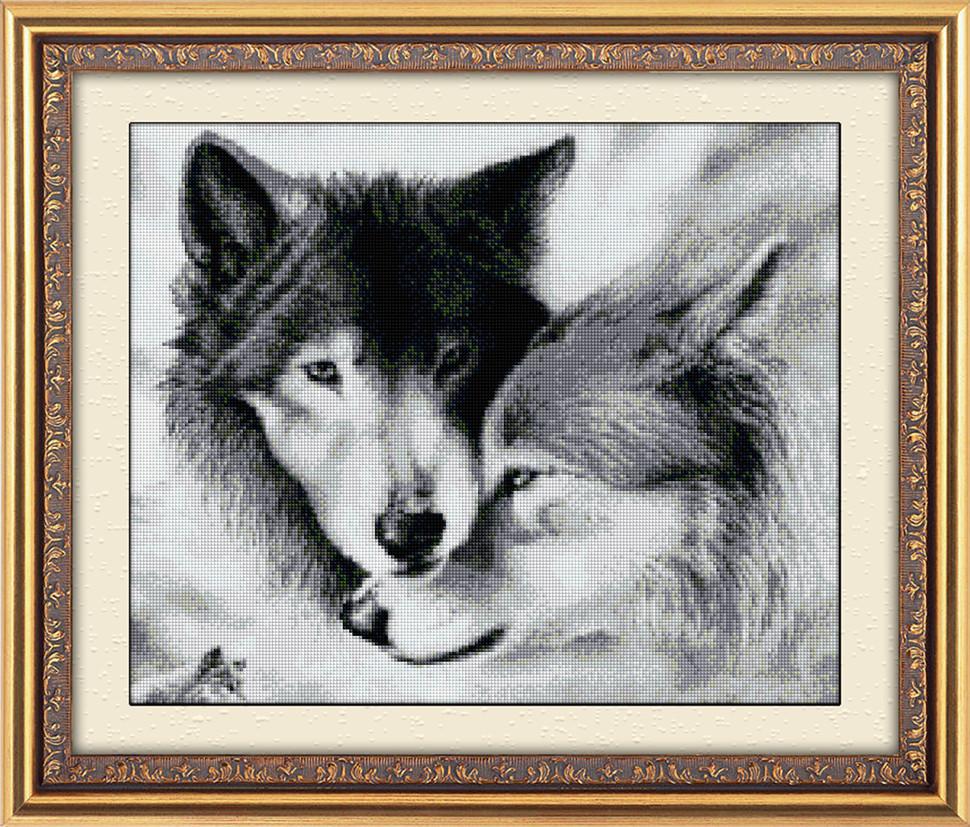"""Алмазна вишивка 68,5х57см - набір """"Закохані вовки"""""""