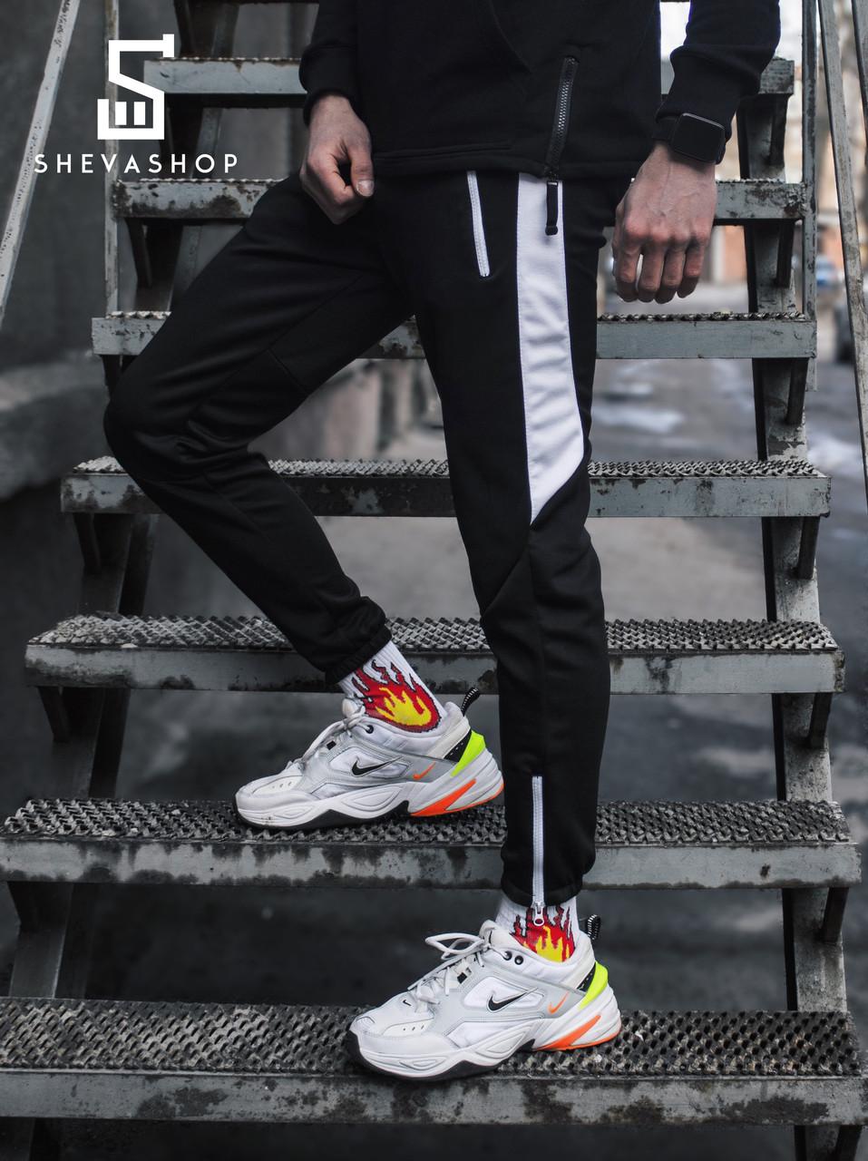 Спортивные штаны с лампасами мужские Пушка Огонь - Joke черные с белым