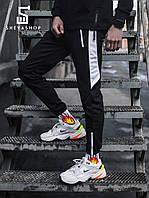 Спортивные штаны с лампасами мужские Пушка Огонь - Joke черные с белым, фото 1