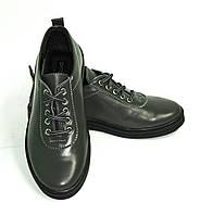 """Серые женские кожаные мокасины на шнуровке ТМ """"ARRA"""", фото 1"""