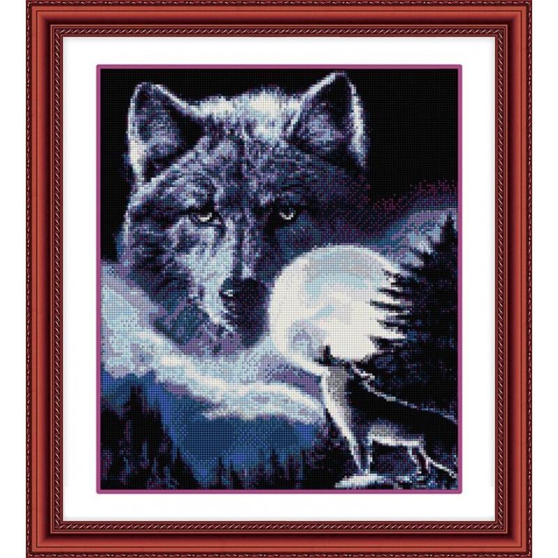 "Алмазная вышивка 46х39см - набор ""Дух волка"""