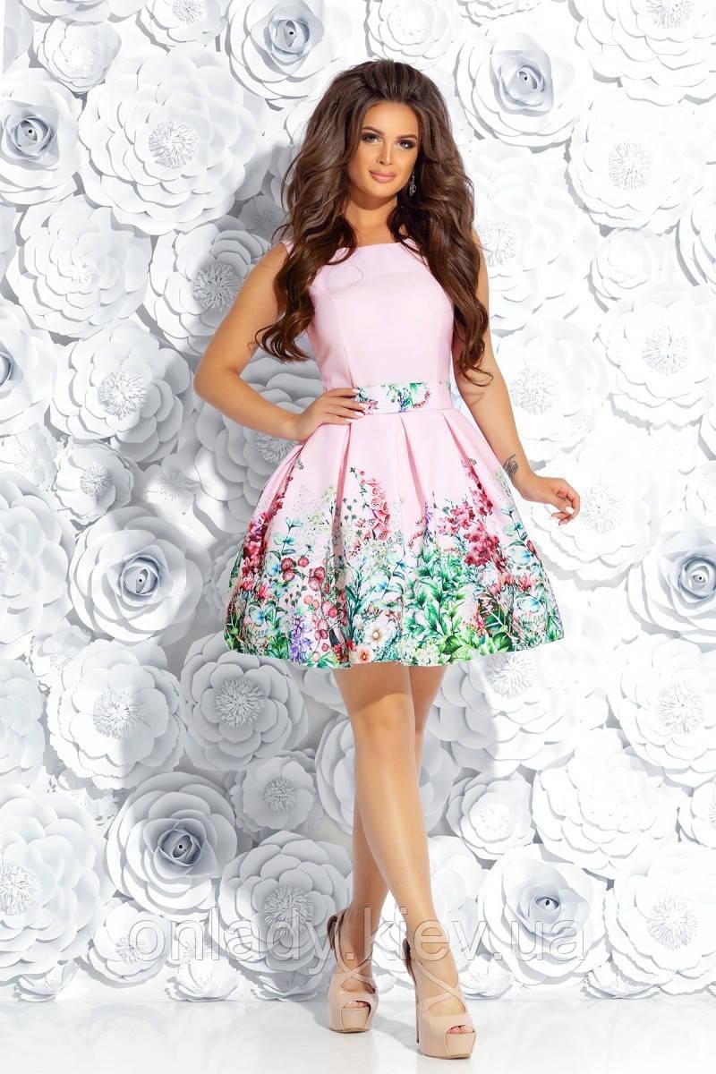 9421e55f2e65bb5 Розовое короткое платье с пышной юбкой и цветочным принтом (S, M) - Интернет