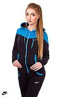 Весенний трикотажный спортивный костюм женский (черный голубой)