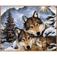 """Алмазная вышивка 50х40см на подрамнике (в раме) - набор """"Семья волков"""""""