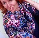 Остановись, мгновенье... 1401-14, павлопосадсая шаль из уплотненной шерсти с шелковой вязаной бахромой, фото 4