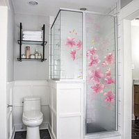 Самоклеющаяся пленка на стекло Розовые цветы (наклейки на зеркало, окно, стекло, полупрозрачная)
