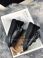Зимние Кроссовки Alexander MCqueen Full Black Leather (Мех)