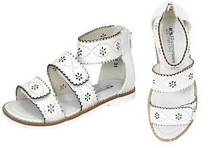 Білі шкіряні босоніжки для дівчаток Шалунішка, розміри 33 - 36 (21,5 - 23,5 см)