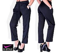 c2a7e587a78 Удобные женские трикотажные брюки со стрелками большой размер черный