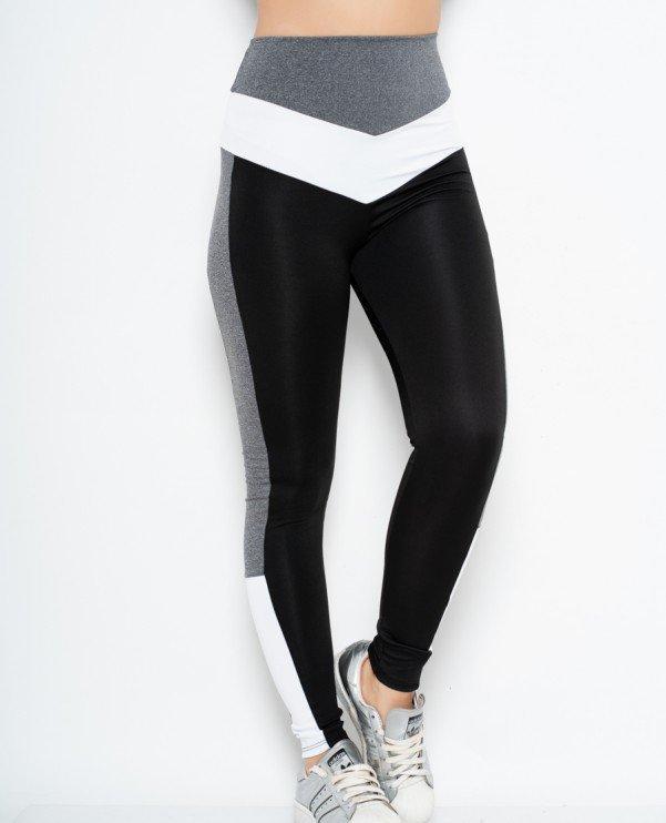 Спортивні жіночі Issa Plus 10540 чорний з сірими смугами та високою посадкою