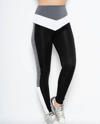 Спортивні жіночі Issa Plus 10540 чорний з сірими смугами та високою посадкою, фото 2