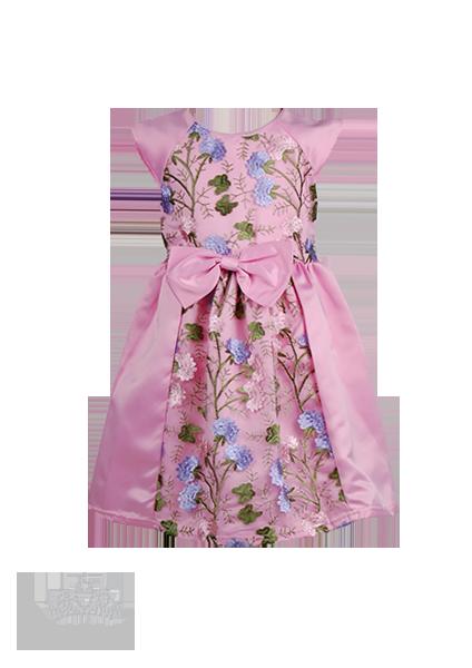 Розовое детское платье с цветочным декором