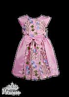 Розовое детское платье с цветочным декором, фото 1