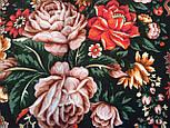 Любовь земная 1760-6, павлопосадский платок (шаль) из уплотненной шерсти с шелковой вязанной бахромой, фото 4