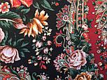 Любовь земная 1760-6, павлопосадский платок (шаль) из уплотненной шерсти с шелковой вязанной бахромой, фото 5