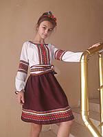 Вышиванка для девочки,украинский костюм , блузка поплин белая , юбка габардин , бордовая , продажа - прокат