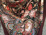 Любовь земная 1760-6, павлопосадский платок (шаль) из уплотненной шерсти с шелковой вязанной бахромой, фото 6
