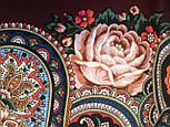 Любовь земная 1760-6, павлопосадский платок (шаль) из уплотненной шерсти с шелковой вязанной бахромой, фото 7