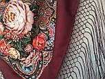 Любовь земная 1760-6, павлопосадский платок (шаль) из уплотненной шерсти с шелковой вязанной бахромой, фото 9