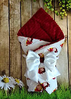 Конверт-одеяло с плюшем  на выписку  и для прогулок Божьи Коровки, фото 1