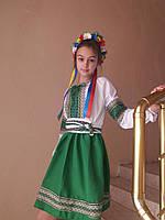 Вышиванка для девочки, украинский костюм , блузка поплин белая , юбка габардин зеленый  , продажа - прокат