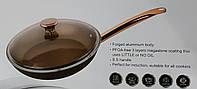 Сковорода золотая с крышкой Zurrichberg ZB-2007 литая с каменным покрытием Megastone 28 см