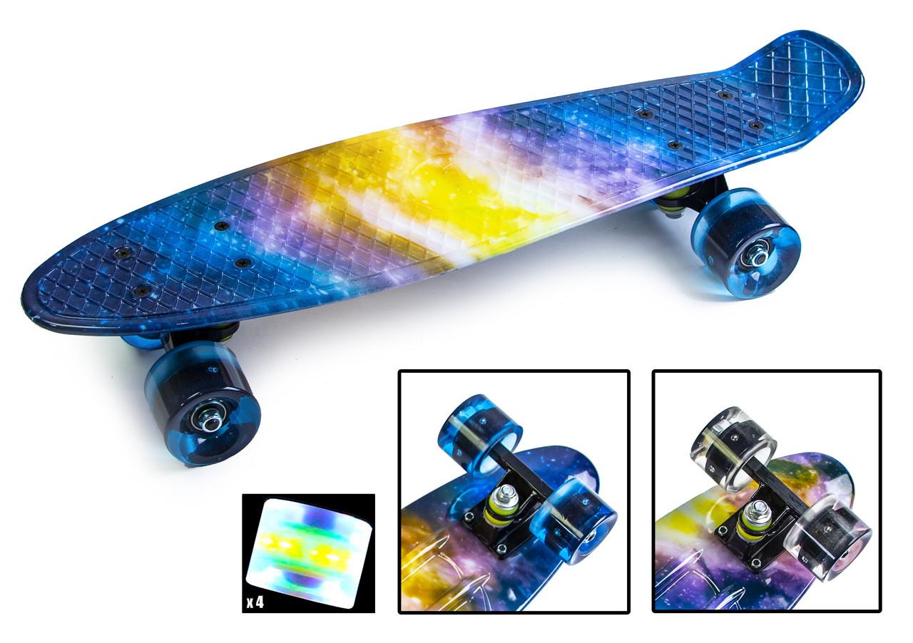 Скейт Пенниборд с рисунком Вселенная. Светящиеся колеса +40 грн.