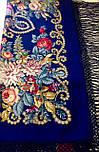 Цыганка Аза 362-14, павлопосадский платок (шаль) из уплотненной шерсти с шелковой вязанной бахромой, фото 8