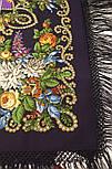 Цыганка Аза 362-15, павлопосадский платок (шаль) из уплотненной шерсти с шелковой вязанной бахромой, фото 4