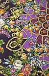 Цыганка Аза 362-15, павлопосадский платок (шаль) из уплотненной шерсти с шелковой вязанной бахромой, фото 6