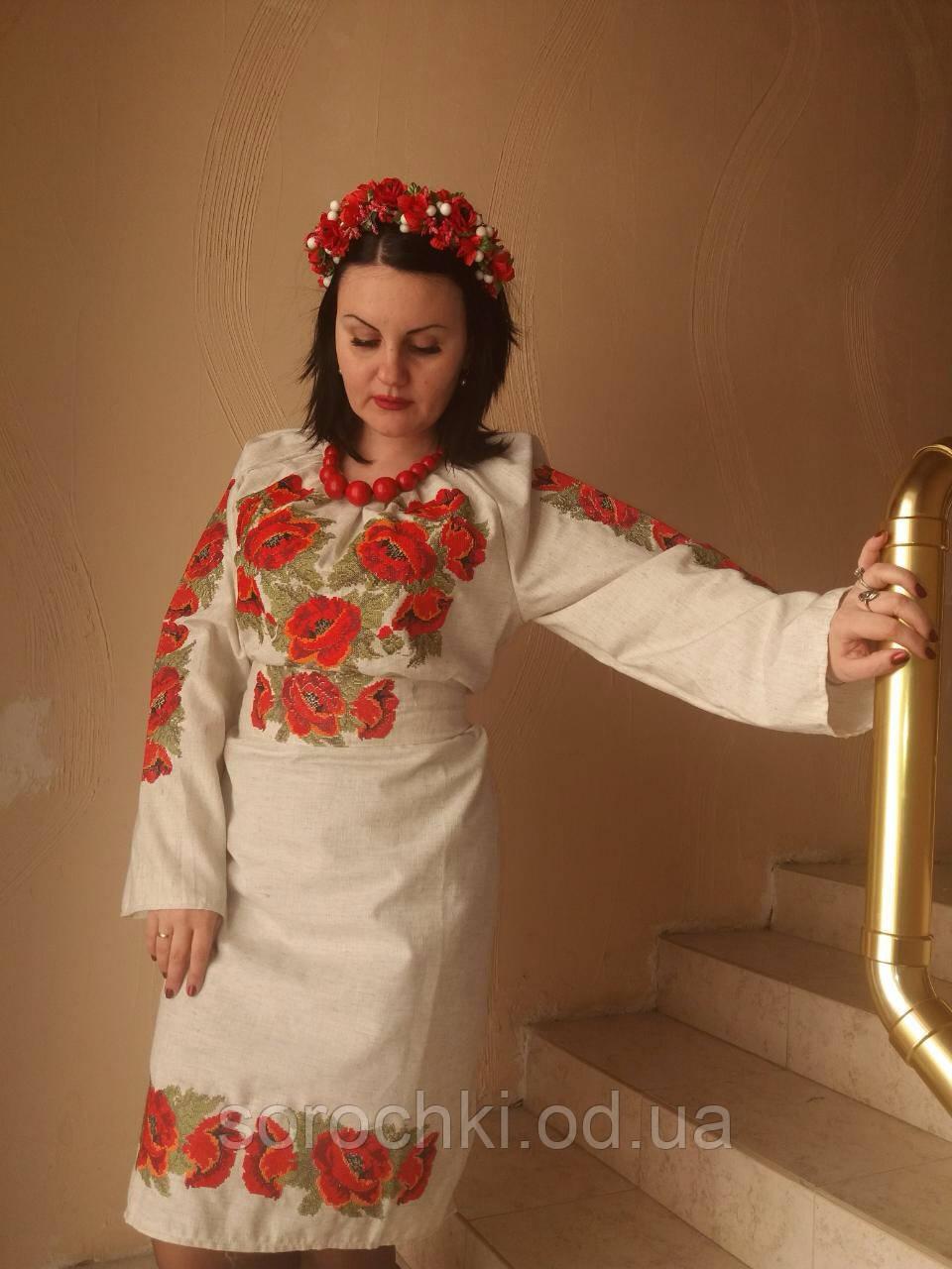 """Платье женское  с вышивкой , цветы , """"маки красные"""" . белое, домотканное полотно"""