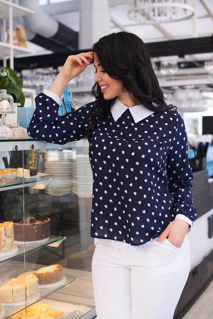 75dfbd5666c Блуза женская длинный рукав в горошек большие размеры - Интернет-магазин