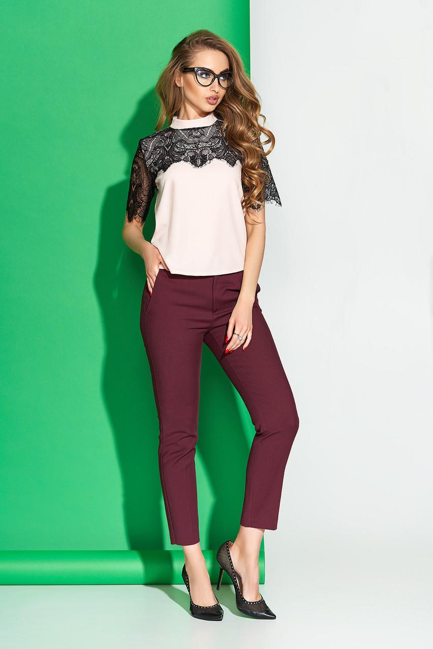 """Женская блуза """"А-140"""" с отделкой по переду и коротким рукавом из французского кружева (пудра)"""