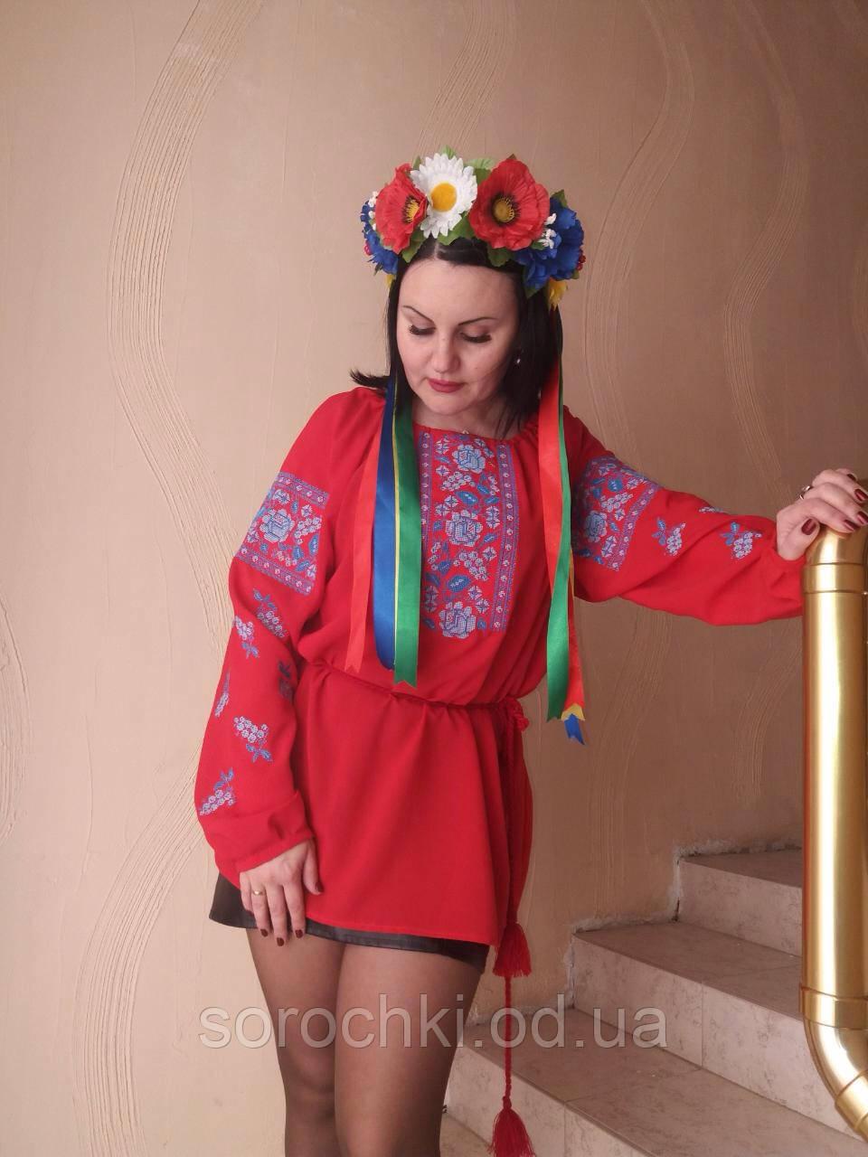 """Блузка женская , красная с вышивкой , цветы , """"маки с виноградом"""" шифон"""