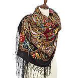 Майя 372-28, павлопосадский платок (шаль) из уплотненной шерсти с шелковой вязанной бахромой, фото 2