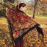 Майя 372-28, павлопосадский платок (шаль) из уплотненной шерсти с шелковой вязанной бахромой, фото 4