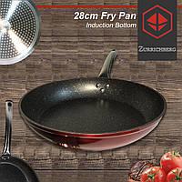 Сковорода с мраморным покрытием красная 28 см Zurrichberg ZB 4001 круглая без крышки