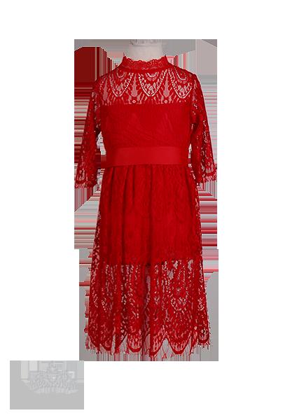 Красное праздничное платье для девочки из стрейч-гипюра