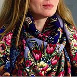 Воспоминания о лете 563-14, павлопосадский платок (шаль) из уплотненной шерсти с шелковой вязанной бахромой, фото 8