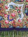 Воспоминания о лете 563-14, павлопосадский платок (шаль) из уплотненной шерсти с шелковой вязанной бахромой, фото 9