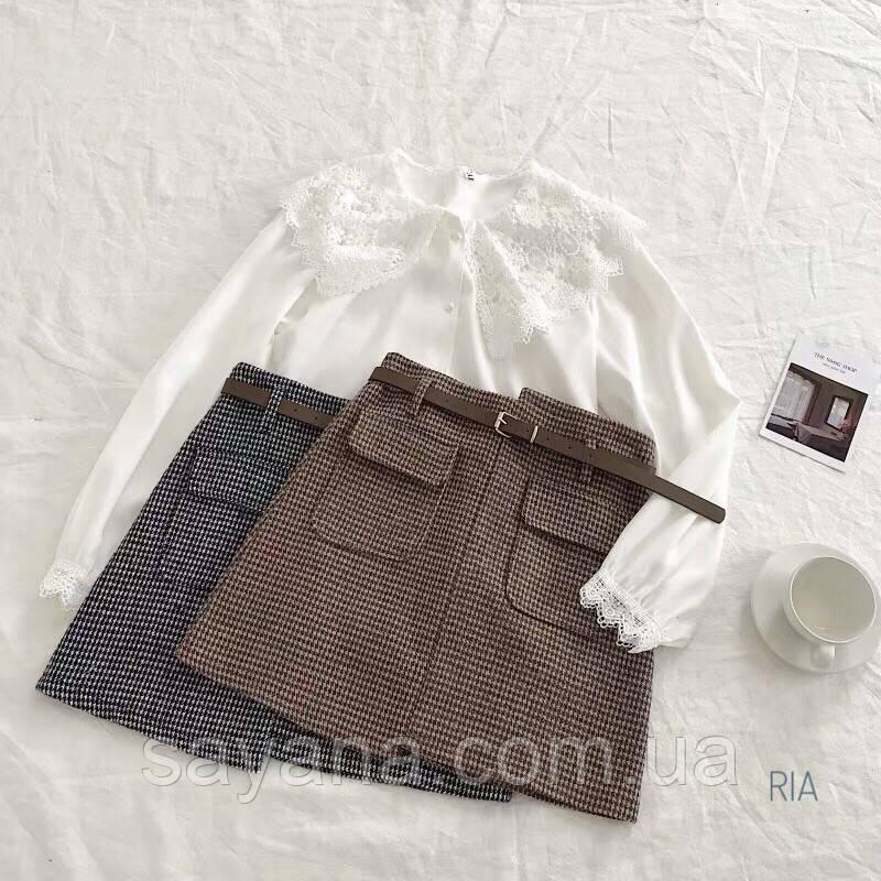 Женская юбка-асимметрия с карманами в расцветках. МТ-13-0319