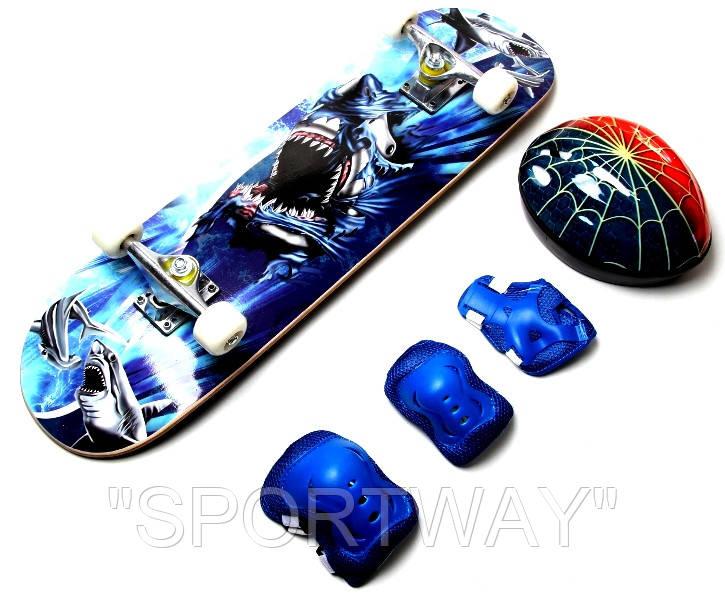 "Скейт ""Cool Shark""+защита+шлем."